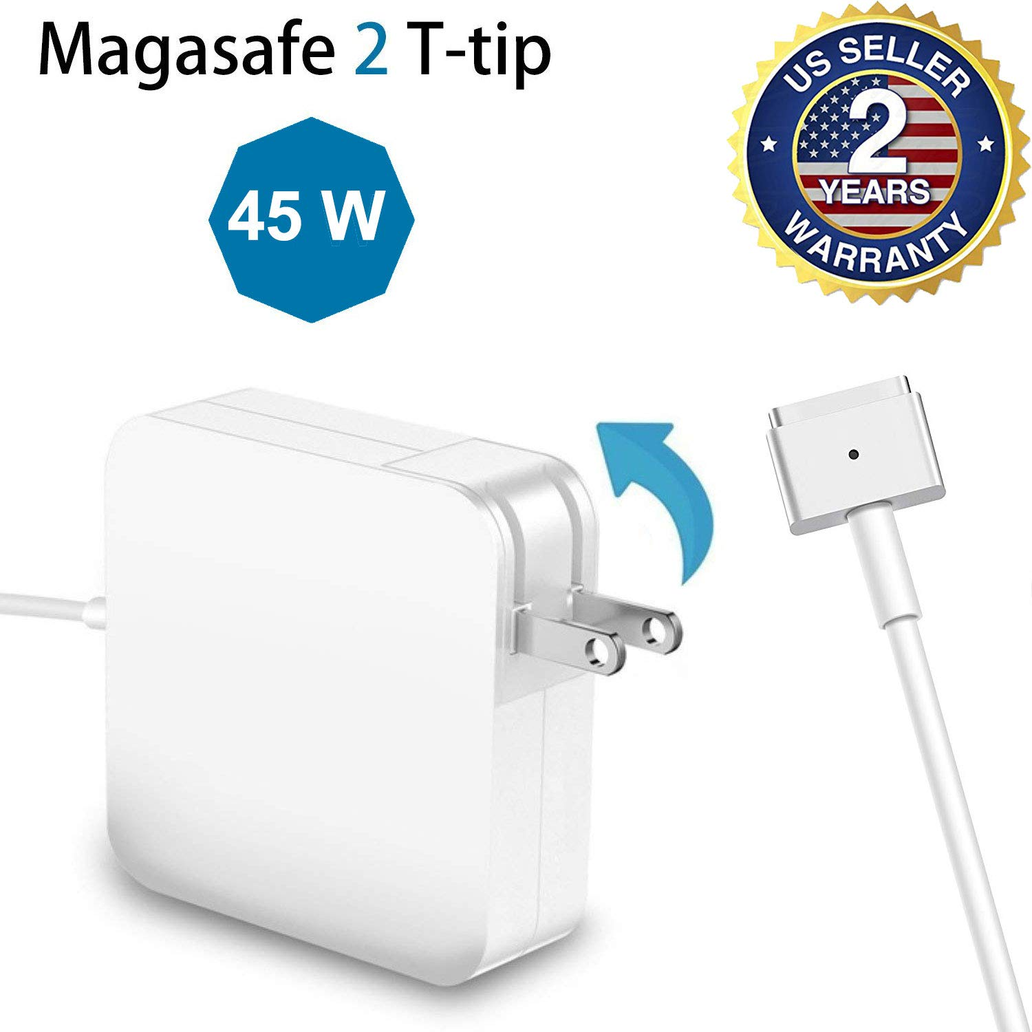 TrophyRak for MacBook Air Charger 45W MagSafe 2 T-Tip Adapter Charger for MacBook Air 11-inch and 13-inch After Mid 2012