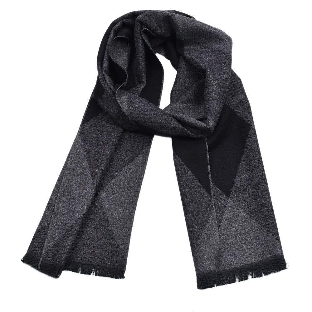 Fashionhe Men Classic Cashmere Scarf Fringe Plaid Tassel Shawl Long Soft Winter Warm Scarves(Black,A)