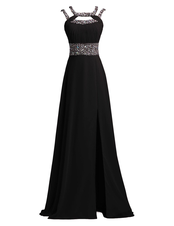 SeasonMall Women's Prom Dress A Line Scoop Chiffon Long Slit Evening Dress Size 6 US Black