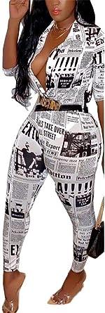 Women Printing One-Piece Short Sleeve High Waist Jumpsuits Button Romper Playsuit