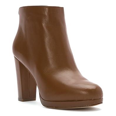 MICHAEL Michael Kors Women's Sammy Platform Bootie Dark Caramel Nappa Boot
