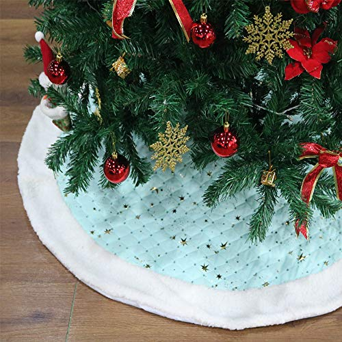 (SHENGLI 48In Blue Christmas Tree Skirts and Gold Star Pattern Cute Floor Mat Carpet for Christmas Tree Holiday Decorations Pet Favors)
