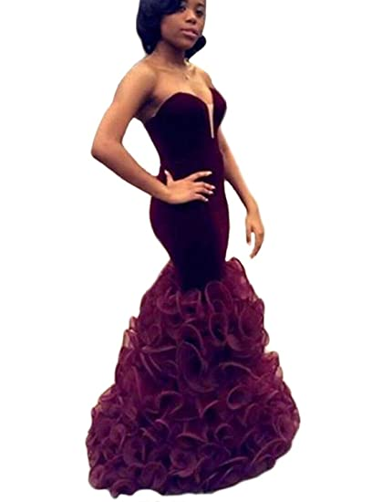 Topashe Womens Strapless V Neck Mermaid Ruffles Velvet Organza Evening Dress6