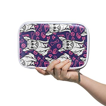 CPYang - Estuche para lápices con diseño de perro bulldog francés con cremallera, bolsa para cosméticos, brochas de maquillaje, papelería, bolígrafo, pasaporte, organizador: Amazon.es: Oficina y papelería