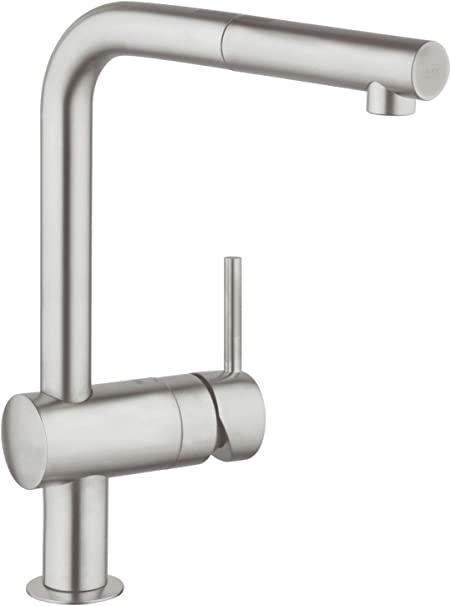 Grohe 32168dc0 Minta Kitchen Tap L Spout Pull Out Spray Supersteel Amazon Co Uk Diy Tools