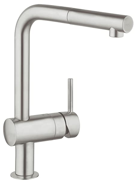 grohe minta kitchen tap with pull out spray head high spout single rh amazon co uk grohe minta kitchen faucet reviews grohe concetto kitchen faucet parts