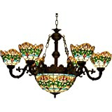 Makenier Vintage Tiffany Style Stained Glass 6 Arms Green Stripes Flower Chandelier with 12 Inches Inverted Ceiling Pendant Lamp