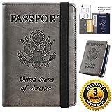 Passport Holder Cover Wallet RFID Blocking Leather Card Case Travel Document Organizer (Coffee Grey)