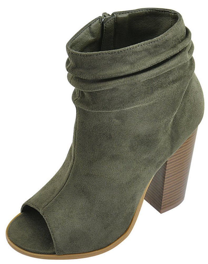 Bella Marie Women's Peep Toe Slouch Chunky Stacked Block Heel Ankle Bootie (6.5 B(M) US, Olive)