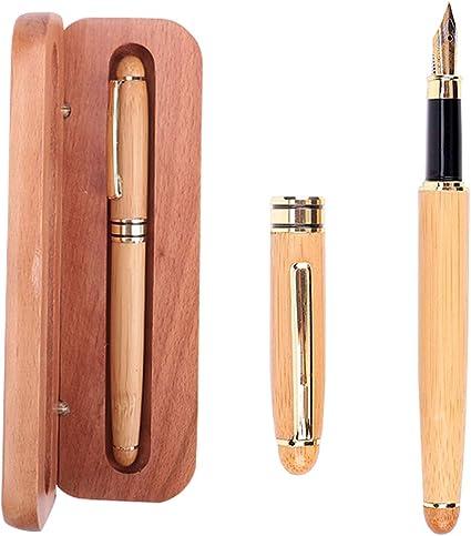 Pluma Estilográfica Vintage Handcrafted Bambú Natural con Caja y Convertidor de Recarga de Tinta: Amazon.es: Oficina y papelería