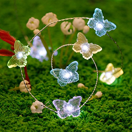 Ornament Lights, Impress Life Butterfly String Lights 10 ft Copper Wire 40 LEDs with Dimmable Remote for Wedding, Camping, Covered Outdoor, Holiday Parties, Pub, Bar, House, Garden, Patio - Optics Review Purple