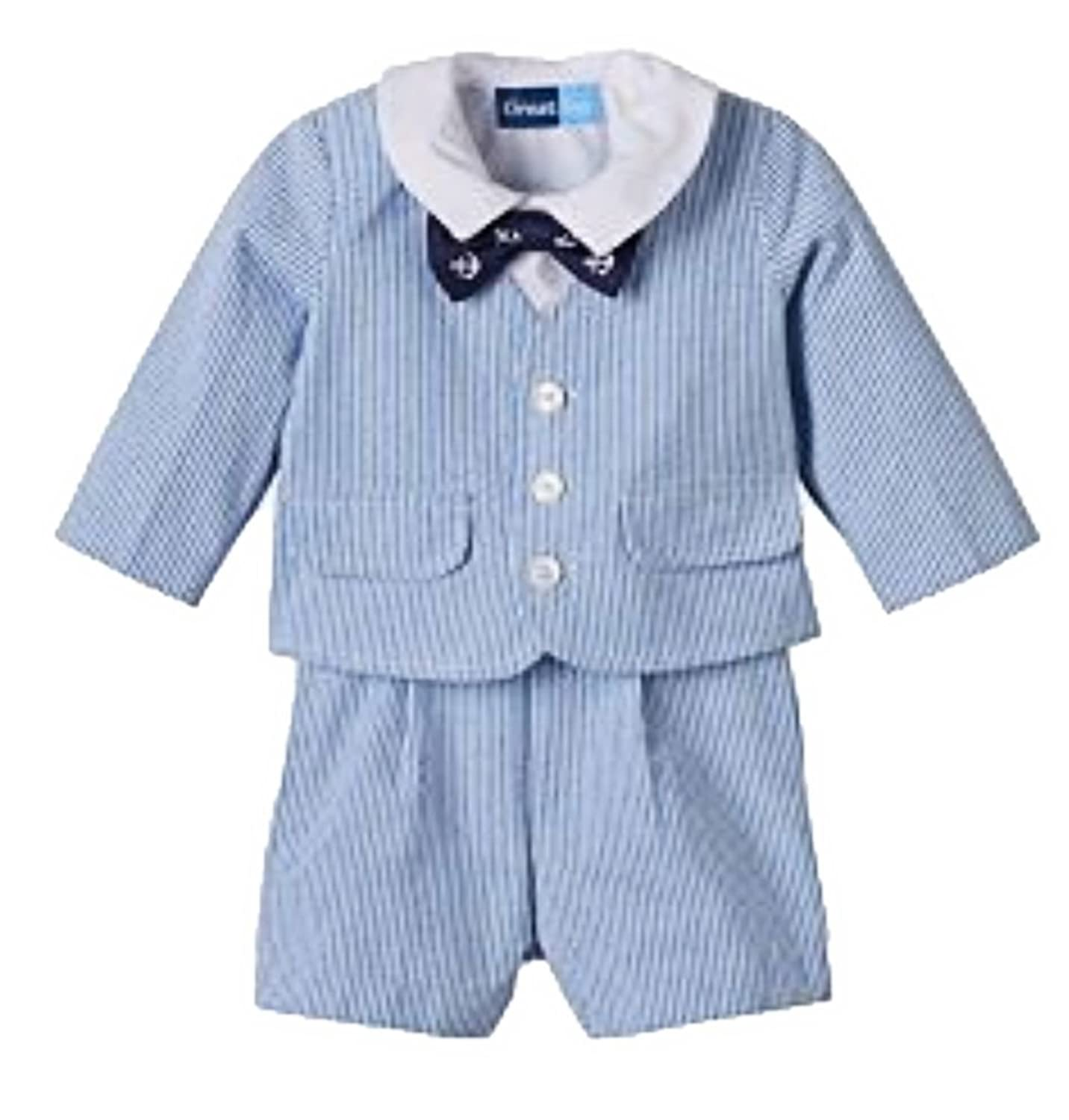 1930s Childrens Fashion: Girls, Boys, Toddler, Baby Costumes Great Guy Boys 4-pc. Seersucker Suit Blue $44.99 AT vintagedancer.com