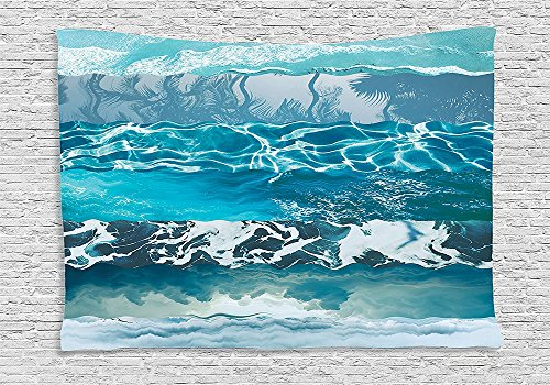 Nautical Decor Tapestry Wall Hanging Abstract Major Gradient Flowing Waves Motif Liquid Shallows Pure Freshness Motion Image Bedroom Living Room Dorm Decor Blue (Major Egyptian Gods)