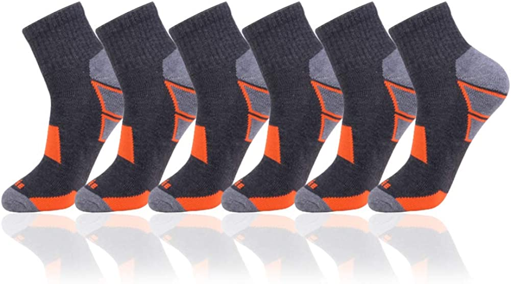 JOYNÉE Men's 6 Pack Athletic Performance Cushion Ankle Running Quarter Socks
