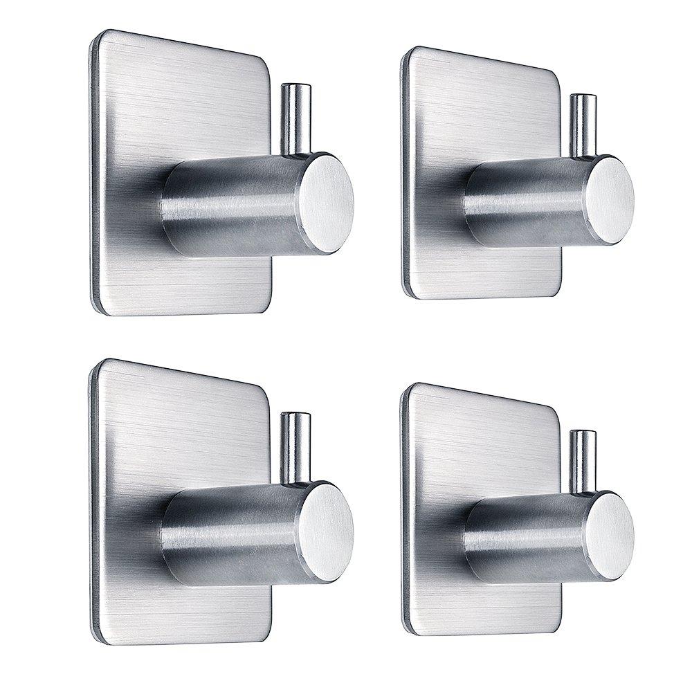 Self Adhesive Hooks Heavy Duty Waterproof Stainless Steel Wall Hooks for Closets, Coat, Hat,Towel Robe Hook Rack Wall Mount- Bathroom and Bedroom 4-Packs