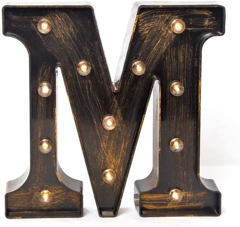 Glintee LED Marquee Letter Lights Vintage Style Light Up 26 Alphabet Letter Signs for Wedding Birthday Party Christmas Home Bar Cafe Initials Decor(M)