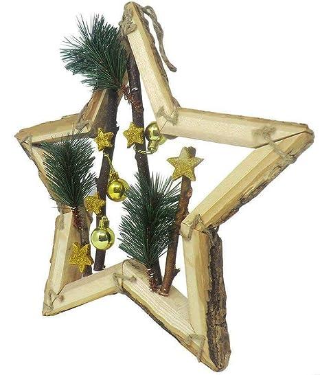 Stella Di Natale Legno.Cucuba Decorazione Natalizia Stella Di Natale In Vero Legno Colore