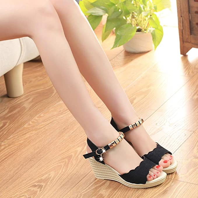 4be60749bde6d AIMTOPPY HOT Sale, Summer Wedges Sandals Shinestone Waterproof Platform  open Toe word Buckle women's Shoes (US:7.5, Black)