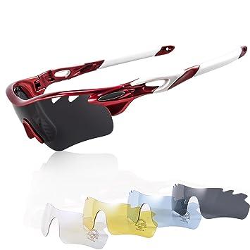 Gafas Ciclismo Polarizadas con 5 Lentes Intercambiables Gafas de Sol Deportivas Antivaho Antireflejo Anti Viento y UV Adaptadas a Deporte Carrera ...