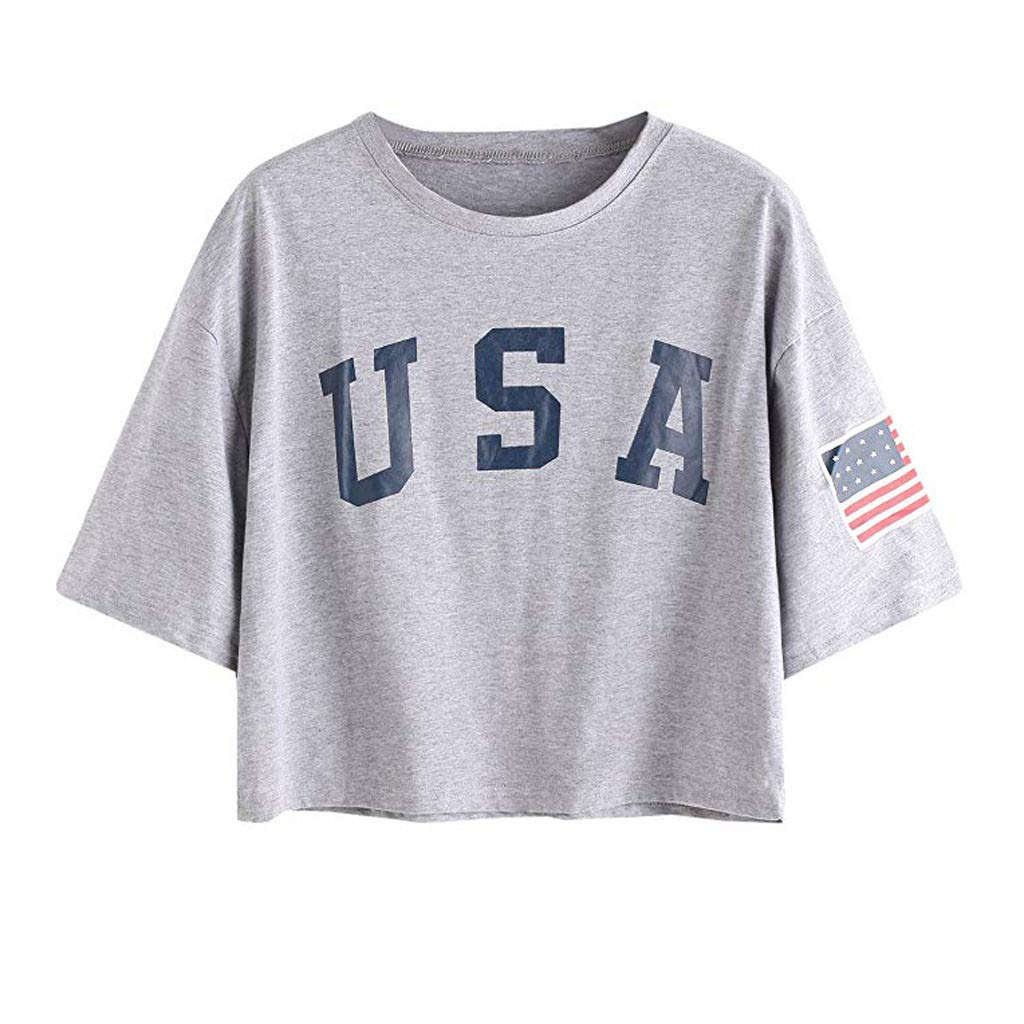 TnaIolral Women T-Shirt Summer Letter Flag USA Print Loose Crop Short Sleeve Tops (L, Gray)