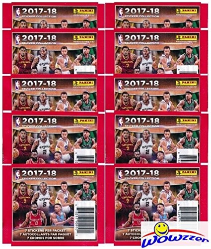 2017/18 Panini NBA Basketball Sticker Collection of 10 Factory Sealed Packs with 70 Brand New MINT Glossy Stickers! Look for Stickers of Top NBA Superstars including Lebron, Durant, Curry & Many More! ()
