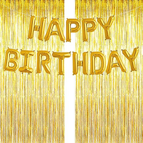(3 Pack Decoration Birthday Party Metallic Tinsel Foil Fringe Curtain Tinsel Backdrops Party Gold Photo Booth Backdrop Wall Decoration Back Drop Curtains, Glitter Streamers for Party, BONUS Happy Birthday Banner and Gold String)