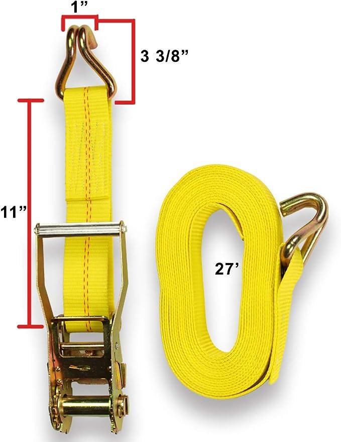 Correas de trinquete y trinquetes suaves de AUGO due/ños de lazo suave televisores paquete de 1700 libras de fuerza de rotura para muebles correas de trinquete de 1 pulgada por 15 pies con cierres de seguridad de gancho en S y tabl 4 4