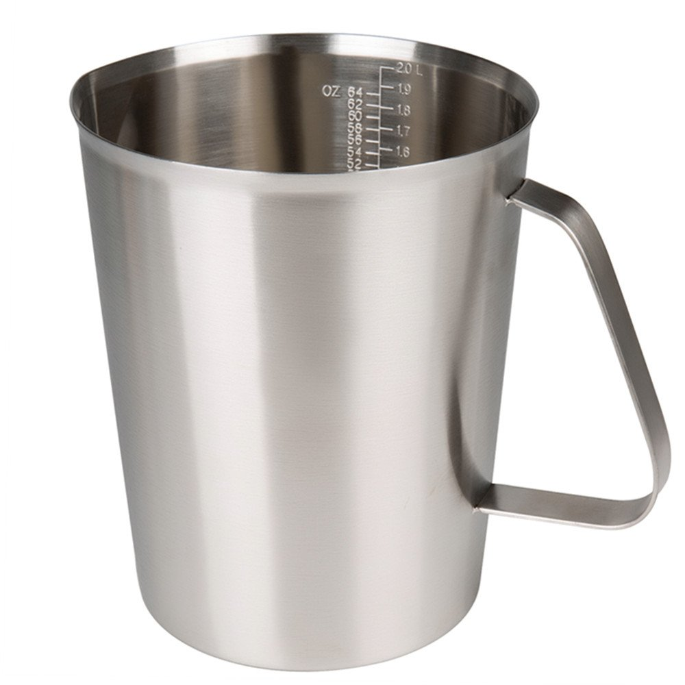 Sissiangle 18/10 Stainless Steel Measuring Cup,Frothing Pitcher with Marking with Handle for Milk Froth, Latte Art (64OZ/2 Liter)