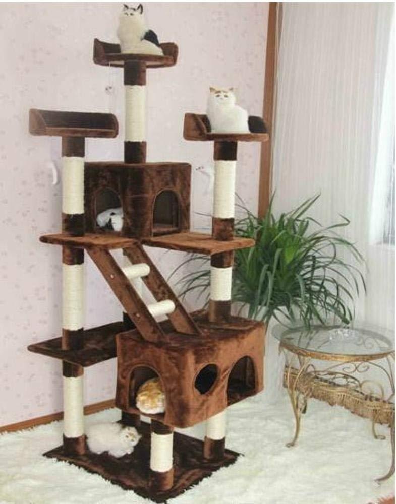 CQSMOO Tiragraffi per Gatti con 3 Piattaforme, Centro attività, per Gatti e Animali Domestici, Tre Piani da 60 cm x 50 cm x 182 cm