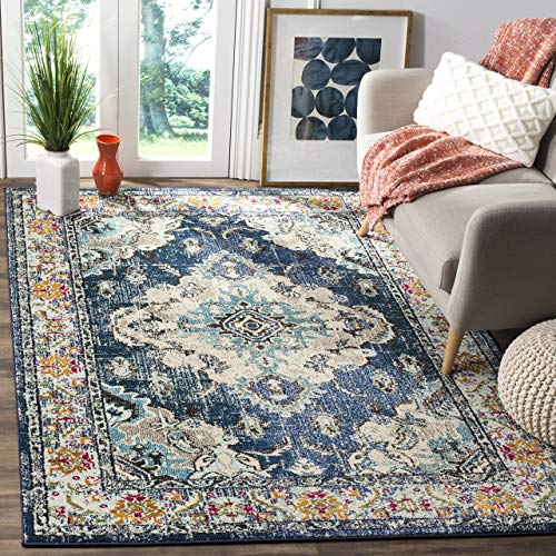 (Safavieh Monaco Collection MNC243N Vintage Bohemian Navy and Light Blue Distressed Area Rug (3' x 5'))