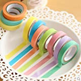 Voberry® 10x Decorative Washi Rainbow Sticky Paper Masking Adhesive Tape Scrapbooking DIY