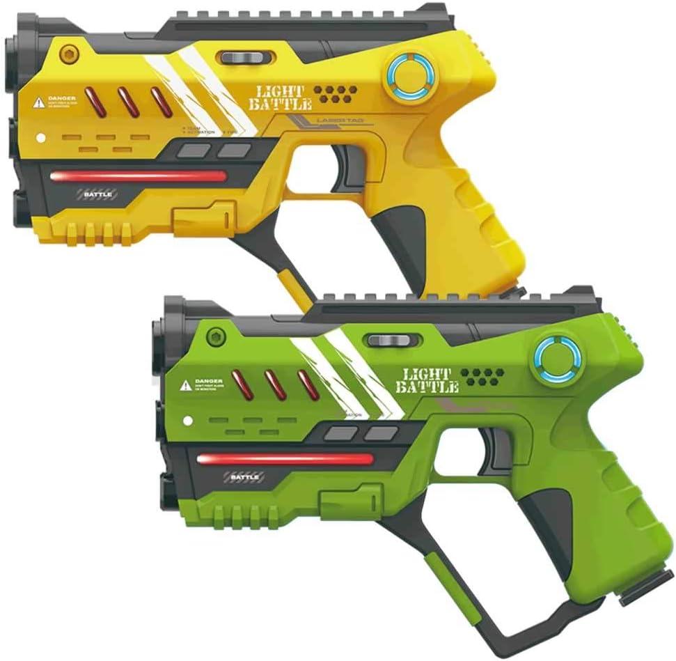 Light Battle 2X Anti-Cheat Pistolas Laser Tag - Láser de Juego de Pistola para niños - Color: Verde y Amarillo - LBAP10218AC