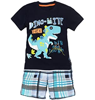 Coralup Toddler Boys Girls Dinosaur Short Sleeve Cotton 2PCS T-Shirt & Shorts Sets