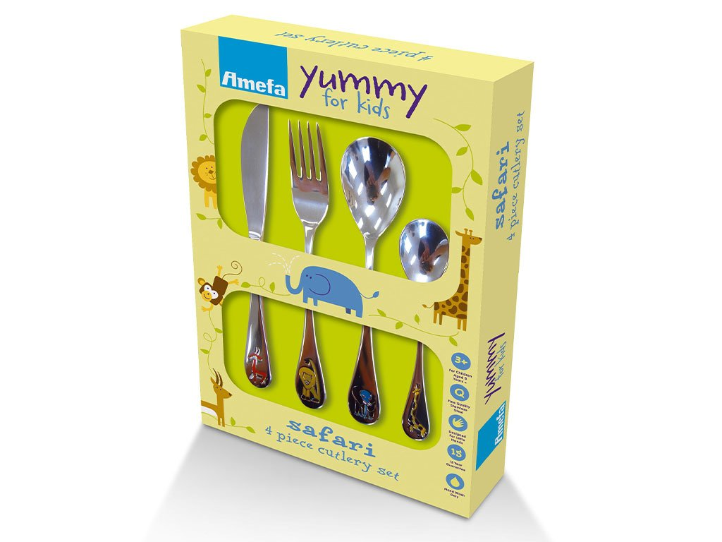 Amefa Kids Safari Kids Cutlery Set Stainless Steel 4 Piece 0430BX04