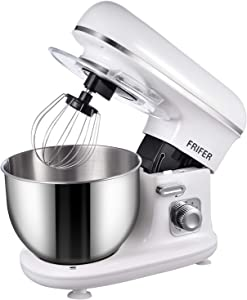 Frifer Stand Mixer 600W 10 Speed Electric Food Mixer with 5QT Stainless Steel Mixing Bowl Dough Kneading Machine with Dough Hook and Flat Beater Wire Whisk,White