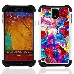 """Pulsar ( Piedras preciosas Pila de joyería de cristal colorido"""" ) Samsung Galaxy Note 3 III N9000 N9002 N9005 híbrida Heavy Duty Impact pesado deber de protección a los choques caso Carcasa de parachoques"""