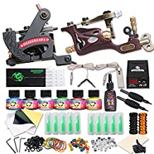 Dragonhawk Complete Tattoo Kit 2 Pro Machines Rotary Gun Power Supply 50 Needles 20 Immortal Inks Grips Tips 2-1YMX
