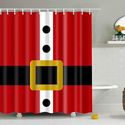 DENGYUE Santa Clause Costume Shower Curtain Black Belt With Golden Buckle Against Red Coat Three