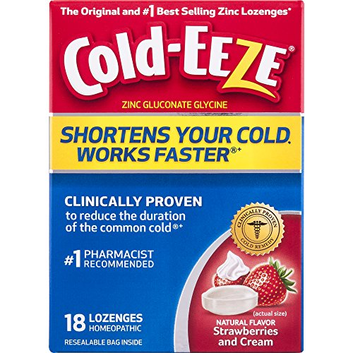 Cold-EEZE Cold Remedy Lozenges Strawberries & Cream, 18 Count, Cold Remedy Lozenges, #1 Pharmacist Recommended Zinc Lozenge, Shortens Colds