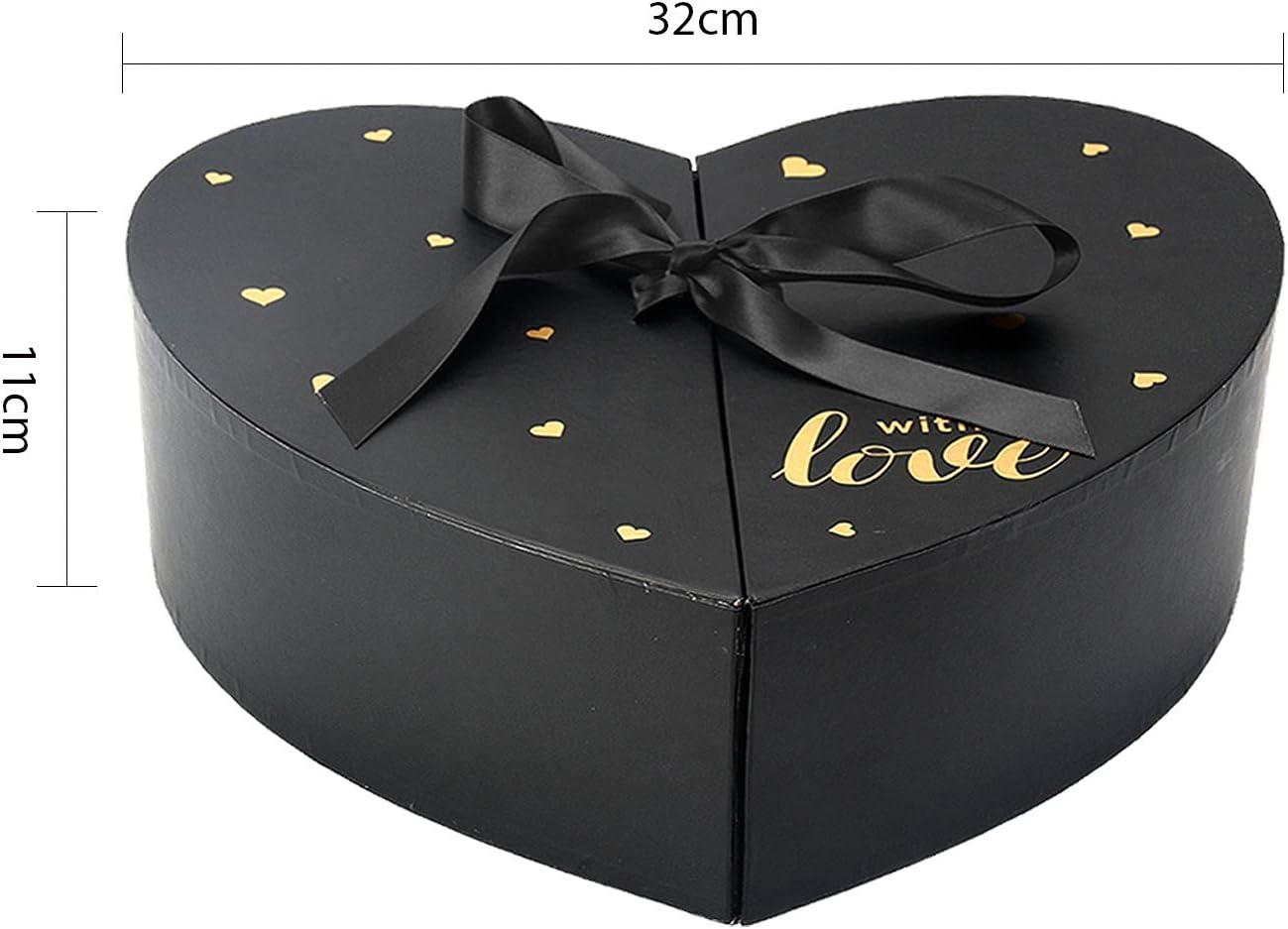 Carton Bo/îtes Rondes /à Fleurs avec Couvercle et Ruban Bo/îte de Rangement Coffret Mariage pour Saint Valentin Anniversaire No/ël Ideal pour Bijoux Bonbons VEESUN Boite Cadeau Vide Forme de Amour