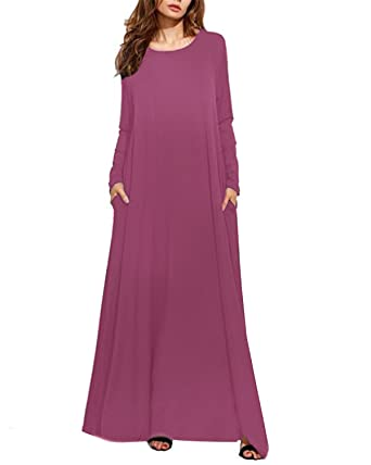 Kidsform Womens Dress Solid Pocket Sundress Round Neck Long Sleeve Maxi Dresses Kaftan Size S/