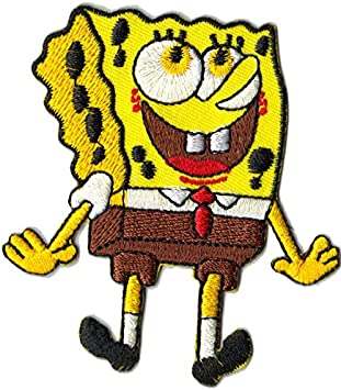 SpongeBob rund Bügelbild Aufnäher Applikation Patch Aufbügler