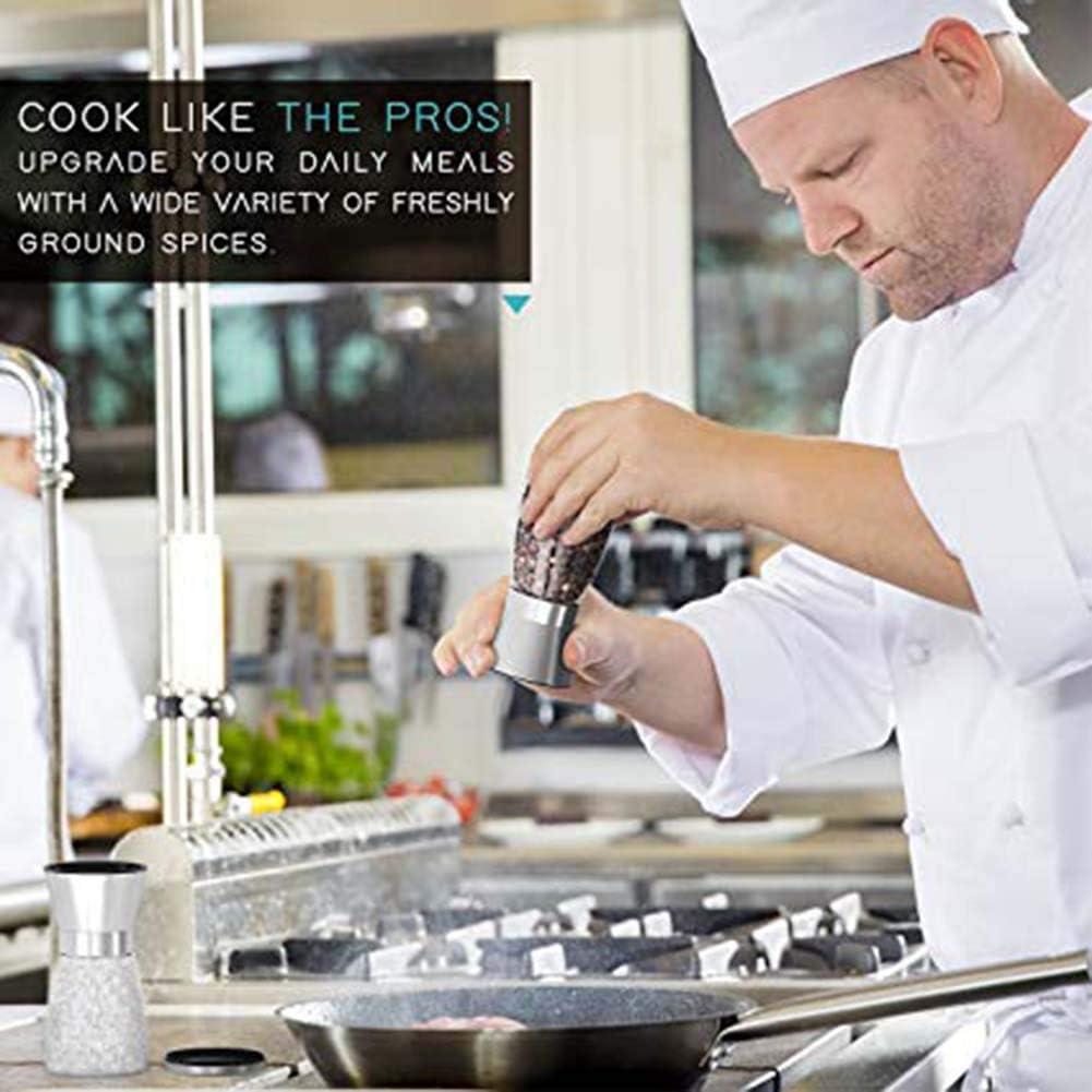 Salt and Pepper Grinder Set Premium Stainless Steel Salt and Pepper Shakers with Ceramic Spice Grinder Mill for Adjustable Coarseness Set of 1 Mills