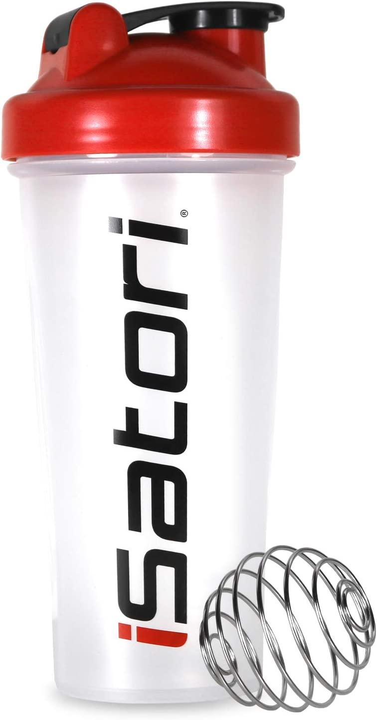 iSatori Classic Blender Bottle Including Stainless Steel Wire Whisk Blending Ball - 28-Ounce (Clear Bottle with Red Top)