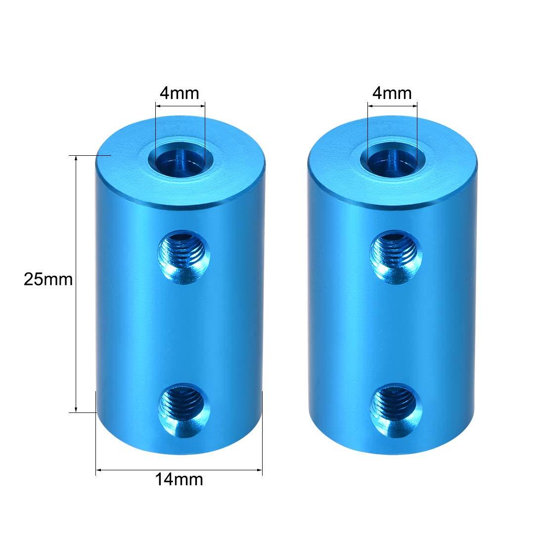 sourcing map Welle Kupplung Roboter Rad Koppler Blau 10mm zu 10mm Bohrung L25xD16