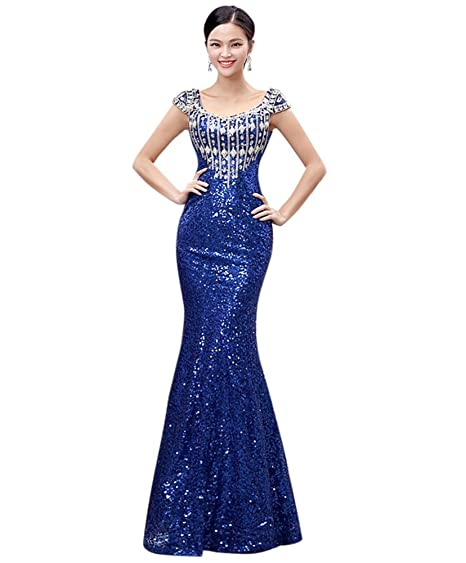Drasawee Womens Short Sleeve Mermaid Prom Party Wedding Dress Full Sequins Long Evening Formal Gowns Blue