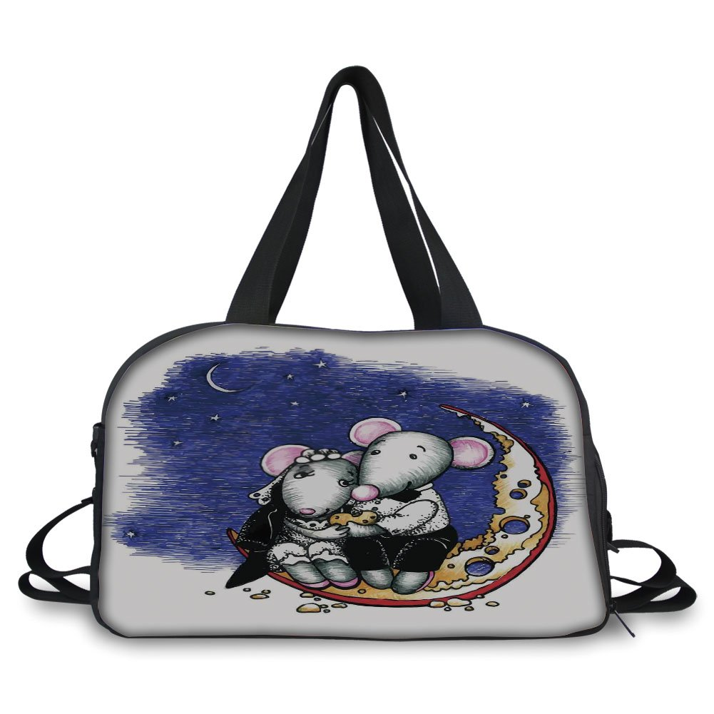 Travel handbag,Animal Decor,Mouse Couple Sitting on the Cheese Flavoured Moon Bride and Groom Valentines Wedding Theme,Multi ,Personalized