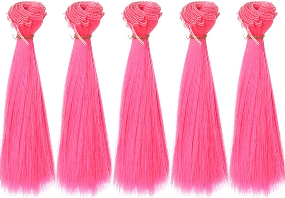 5pcs//lot one color,15x100cm Straight Sky Blue Synthetic Hair Weft for DIY Doll Wigs