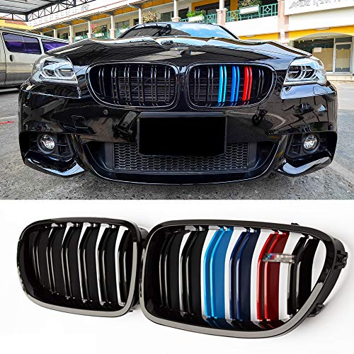 (Fandixin F10 Grille, ABS Front Kidney Grill for BMW 5 Series F10 F18 Gloss M Color)