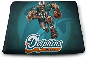 GAJzuiajg Miami Dolphins Square EPE Thick Chair Cushion, Home Office Dining Chair Cushion, Indoor and Outdoor Decoration Chair Cushion, 13.815 inch Restaurant Decoration Chair Cushion